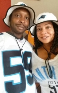 Selena and her husband, Marcus, ready to cheer on the Panthers!