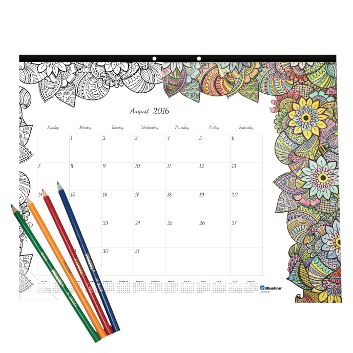 Adult Coloring Calendar-with colored pencils